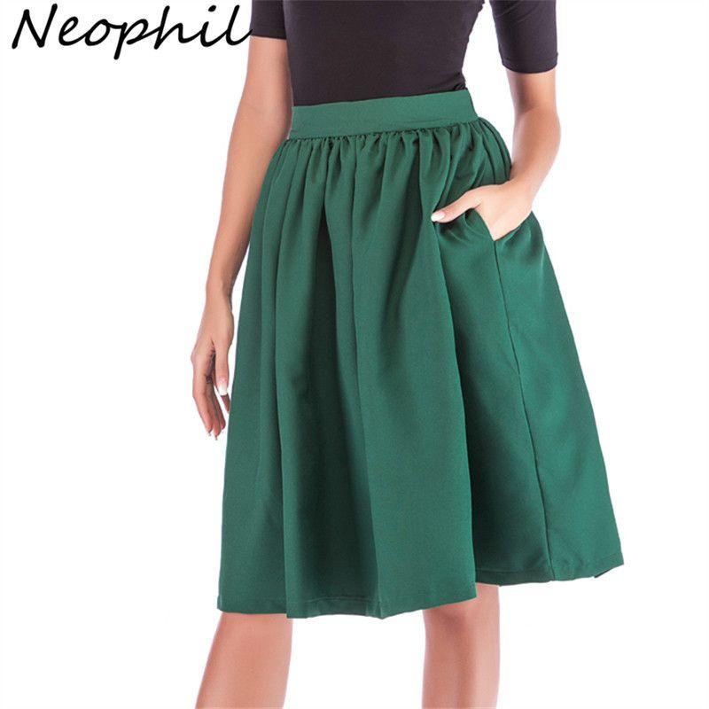 d5d66462c 2019 Neophi 2019 Summer Pleated Pockets Women Midi Skirts High Waist Xxl  Vintage Style Black Red Ladies Skater Skirt Longa Saia S1111 C19040402 From  ...