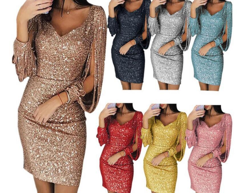 fe557d30702229 2019 Women Dress Sexy Solid Sequined Stitching Shining Club Sheath Long  Sleeved Mini Dresses Woman Party Night Dames Jurken From Tomchen1
