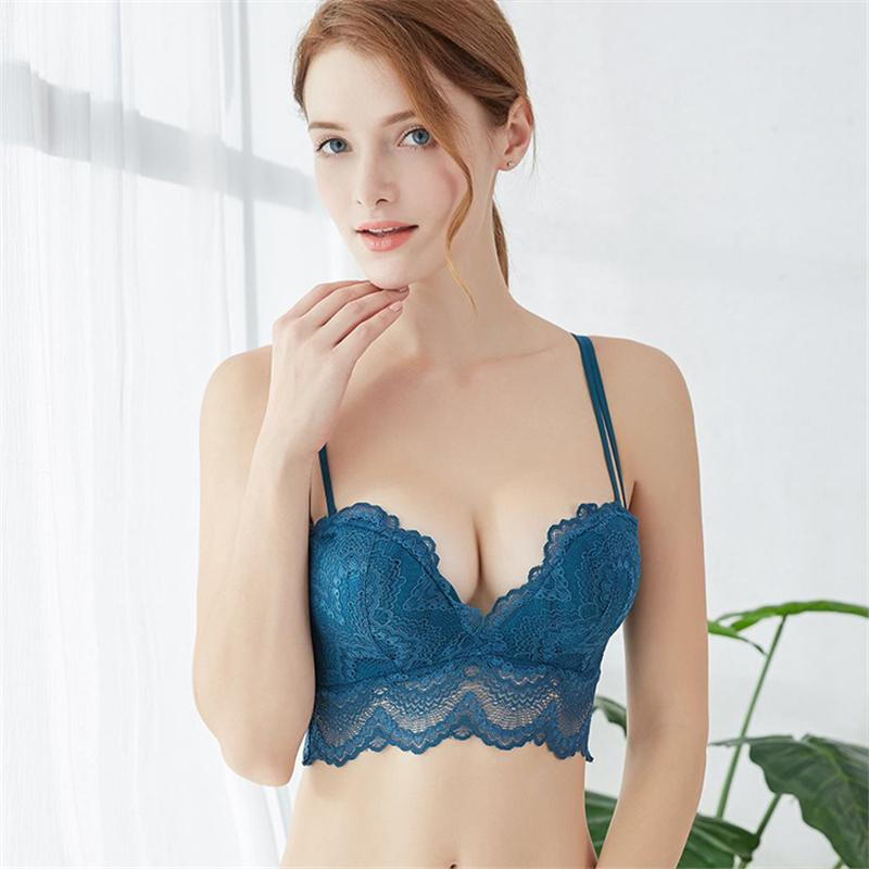 c06bc7fa9f 2019 2018 Floral Wireless Sexy Bras Lace Lightly Lined Triangle Bra Set  Underwear Women Lingerie Deep Plunge V Neck New Arrival From Yuhuicuo