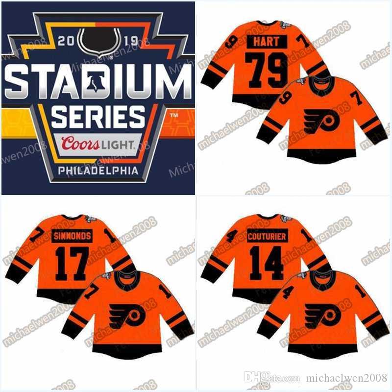 68f98094afc 2019 53 Shayne Gostisbehere 2019 Stadium Series Jersey Mens 79 Carter Hart  Philadelphia Flyers 28 Claude Giroux 93 Jakub Voracek Hockey Jerseys From  ...