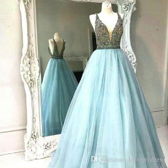 Hard Hand-working Beading Prom Evening Dresses Empire Waist Crystal Beaded Sequins Sexy Deep V-neck Tulle Sweet 16 Dress Formal Dresses