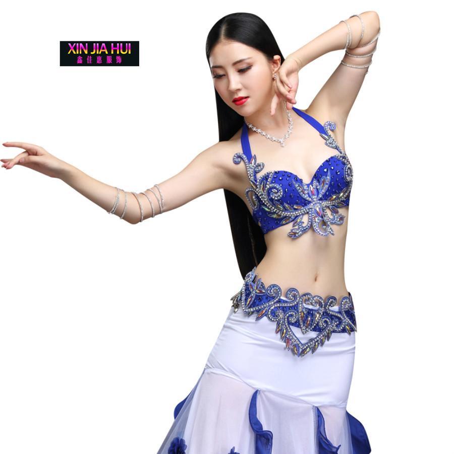 b2edbc2cfc005d Neue Bauchtanz Set Kostüm Bühne Orientale Bh Perlen Sexy Frauen Nacht Tanz  Karneval Tops Gürtel Kleidung Eastern Style Outfits