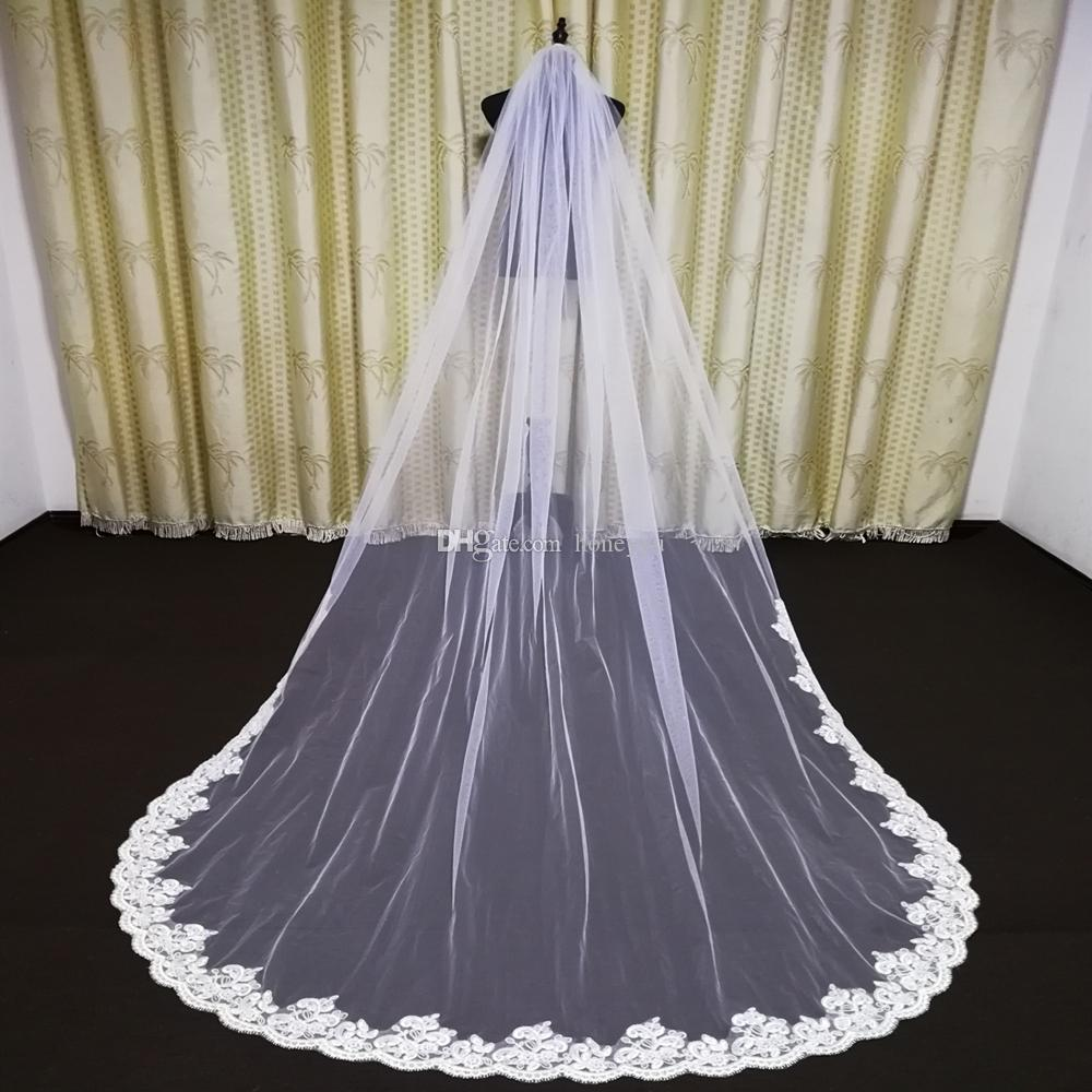 2020 new authentic photos bride wedding accessories lace lace veil cathedral wedding veil with metal comb