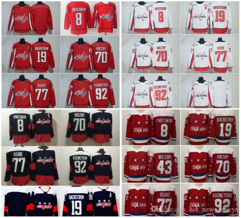 df1591e3c 2019 18 19 Stanley Cup Champions Washington Capitals Hockey Alex Ovechkin  Nicklas Backstrom TJ Oshie Braden Holtby Tom Wilson Kuznetsov Jerseys From  ...