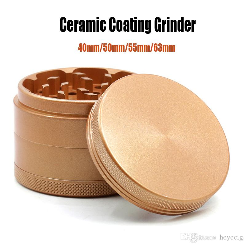 Ceramic Coating Grinder Easy to Clean Aluminum Alloy 4 Parts Herb Grinders Tobacco Crusher Diameter 55mm Sharp Stone Grinders