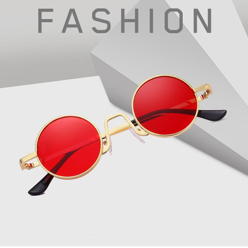 7d11a22a2a2 Feishini Red Lens Punk Round Sunglasses Women Luxury Brand Designer Shades  Sun Glasses Men Metal Eyewear Yellow Vintage 2019 Oversized Sunglasses Best  ...