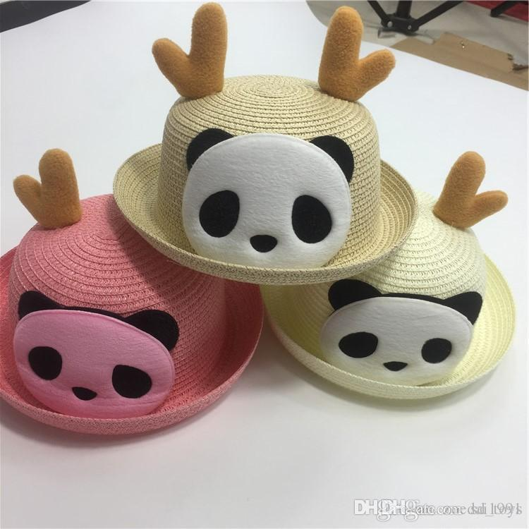 Children's straw Sun Hat Summer Baby Ear Decoration Lovely Panda Shade Cap Sunscreen Beach Visor Cartoon Panda Gift