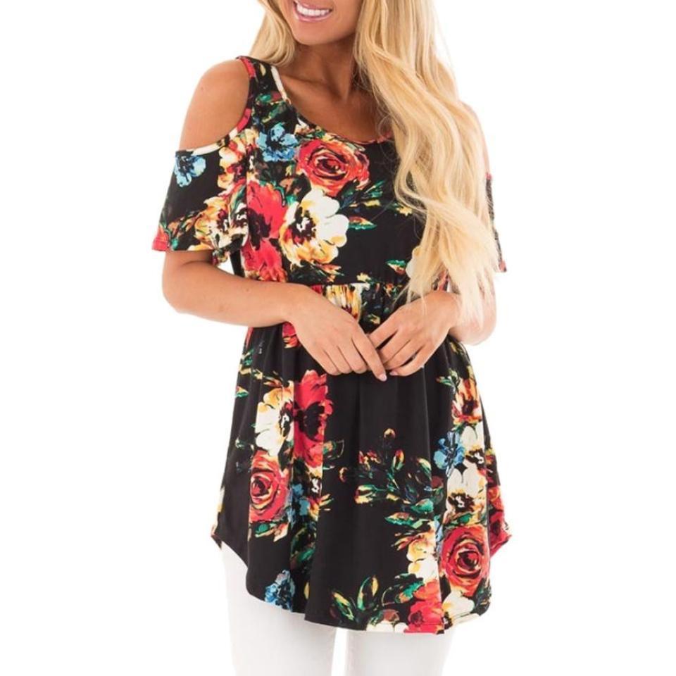 96934677e3f New 2019 Spring Summer Tops Women Short Sleeve Casual T Shirt Print Slim Off  Shoulder T Shirt Flowers Print Tops T Shirt It T Shirt The T Shirt From  Bibei09 ...