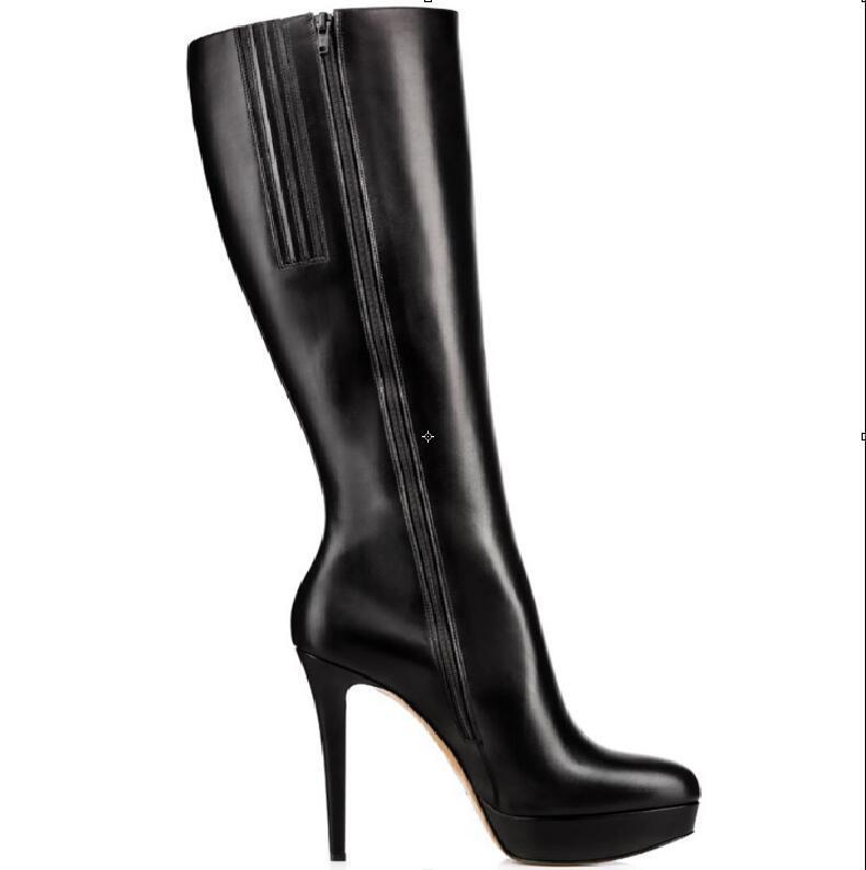 ecc7f2f8fbc Hot sexy Fashion Black PU Knee-High Shoes Pointed Toe Square Heel Women's  Shoes Zip Big Size Europe Size 46 Women's Boots