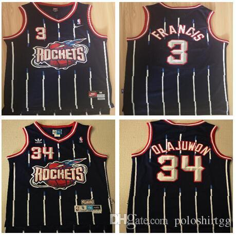 1fd7c97cc 2019 Houston 2018 2019 New Season Boys Rockets 34 Hakeem Olajuwon 3 Francis  Vintage Blue Hole Cloth Jersey From Poloshirtzzz