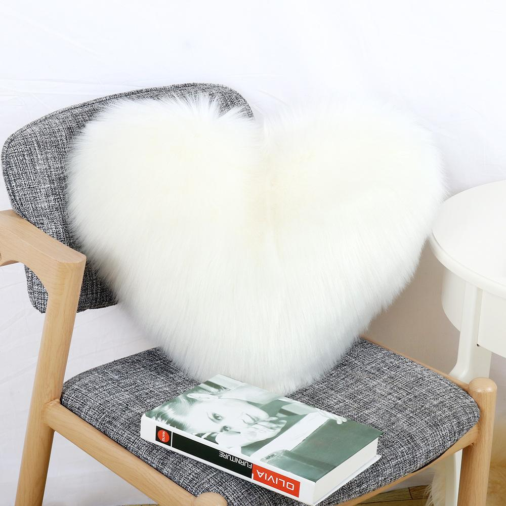 Excellent Winter Soft Warm Plush Heart Cushion For Living Room Bed Room Love Shaped Fuzzy Chair Pillow Decorative Shaggy Floor Cushions Inzonedesignstudio Interior Chair Design Inzonedesignstudiocom