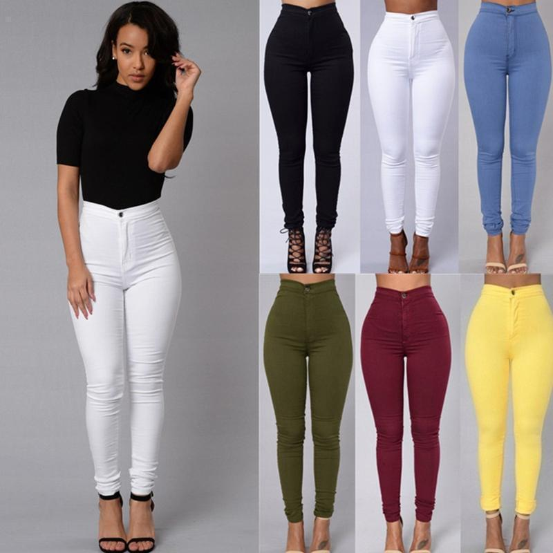 Women's leggings thin section high waist stretch pencil pants tight body hips solid color candy color jeans