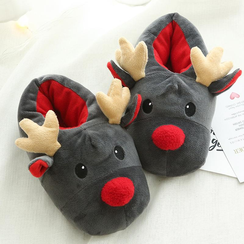 249d79db986b Cheap Plush Indoor Warm Winter Cotton Slippers Christmas Reindeer Slippers  for Women And Men