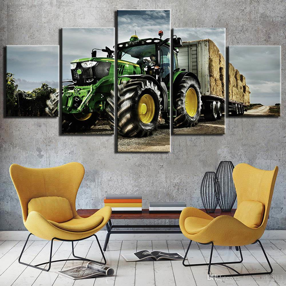5 pezzi con cornice HD Stampato a macchina Trattore Farm Agricoltura industriale Moderna Home Decor Picture Canvas Art Print Pittura su Canvas Arts