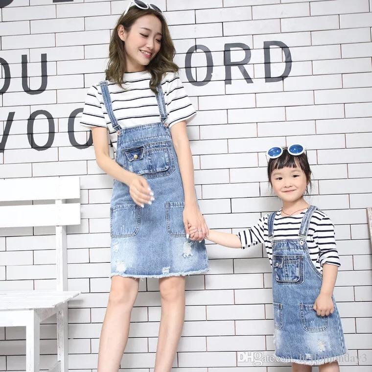 cc2d0526e4 Little Girls Kids Adjustable Strap Denim Bib Overalls Jumpsuit Romper  Mother Daughter Outfits Family Matching Clothes Matching Brothers Outfits  Mum And Baby ...