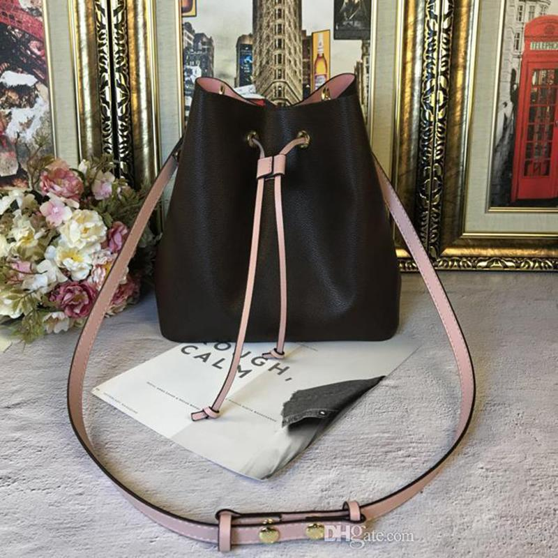 AAAAA shoulder bags Noe leather bucket bag women famous brands designer handbags high quality flower printing crossbody bag purse check