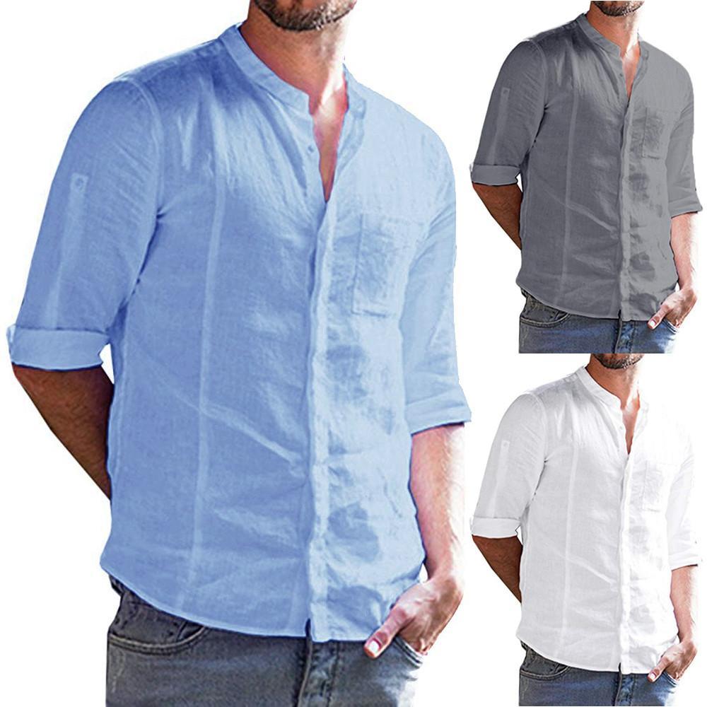 4d42607aefca Camisa de lino Hombres Manga larga Camisa de hombre Casual Algodón de  verano Para hombre Roll-up Botón de manga larga Sólido Banded Collar Fit  W413