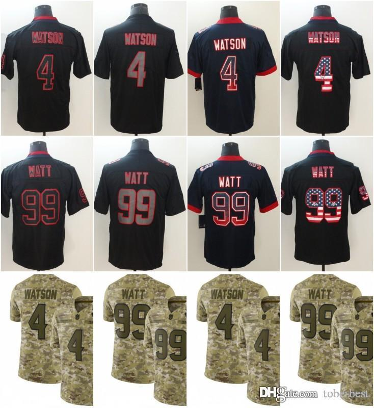 d6c9c890ba9 2019 Houston 4 Deshaun Watson Jerseys 99 JJ Watt Texans 2018 Salute To  Service USA Flag Lights Out Black Color Rush Drift Camo Olive Limited From  Tobe Best, ...
