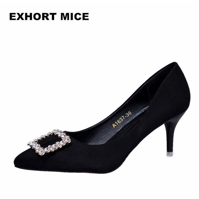 6c19598885 Compre Sapatos De Vestido 2019 Mulheres Casuais De Verão Apontou Toe Bombas  Vestido De Salto Alto Barco De Casamento Tenis Feminino Botão Quadrado De 7  Cm ...