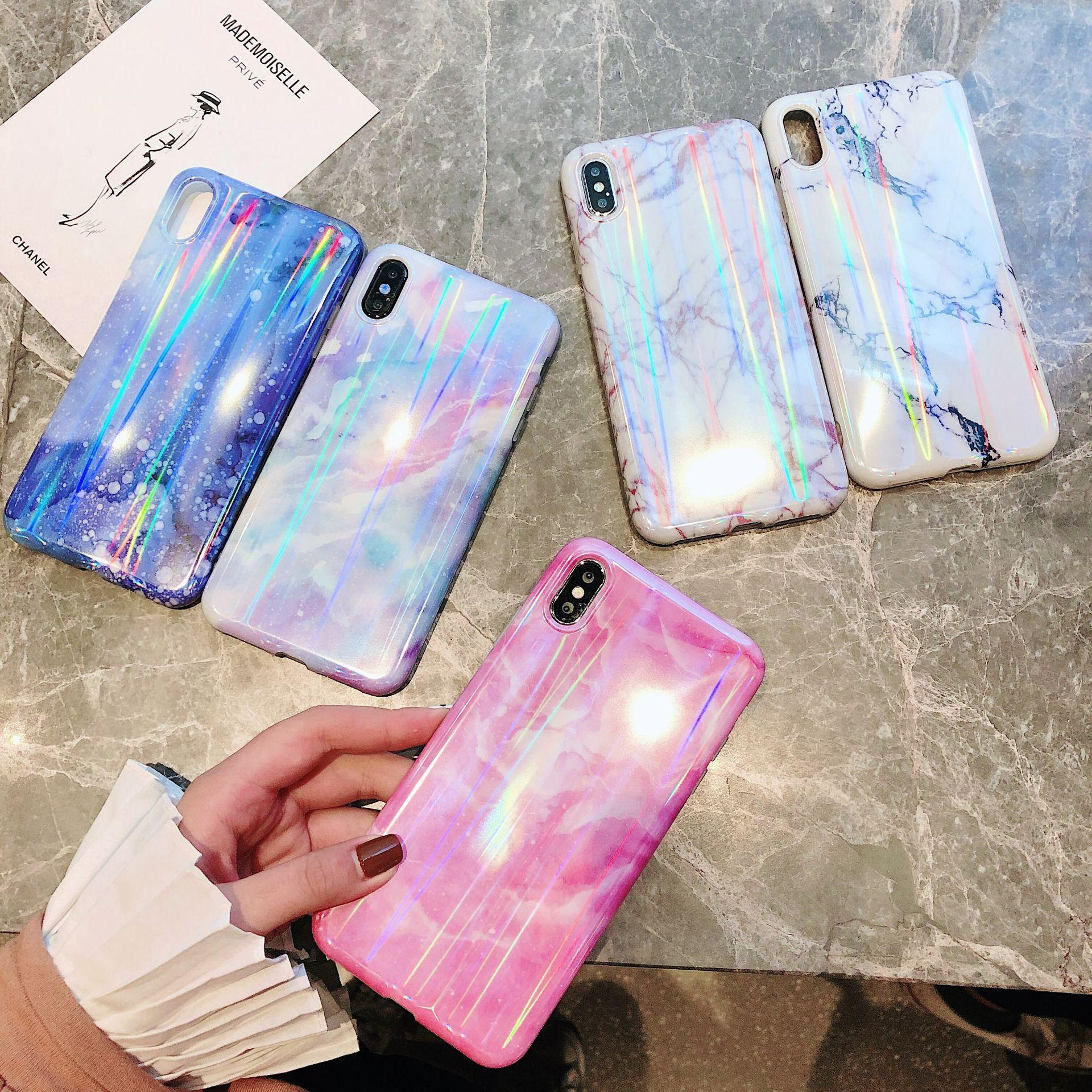 pretty nice 7bf2a 2042e New Arrivals Laser Marble Pattern Design Hologram Phone Case for IPhone XS  Max XR X 8 7 6 Plus Soft Holographic TPU Silicone Phone Cases