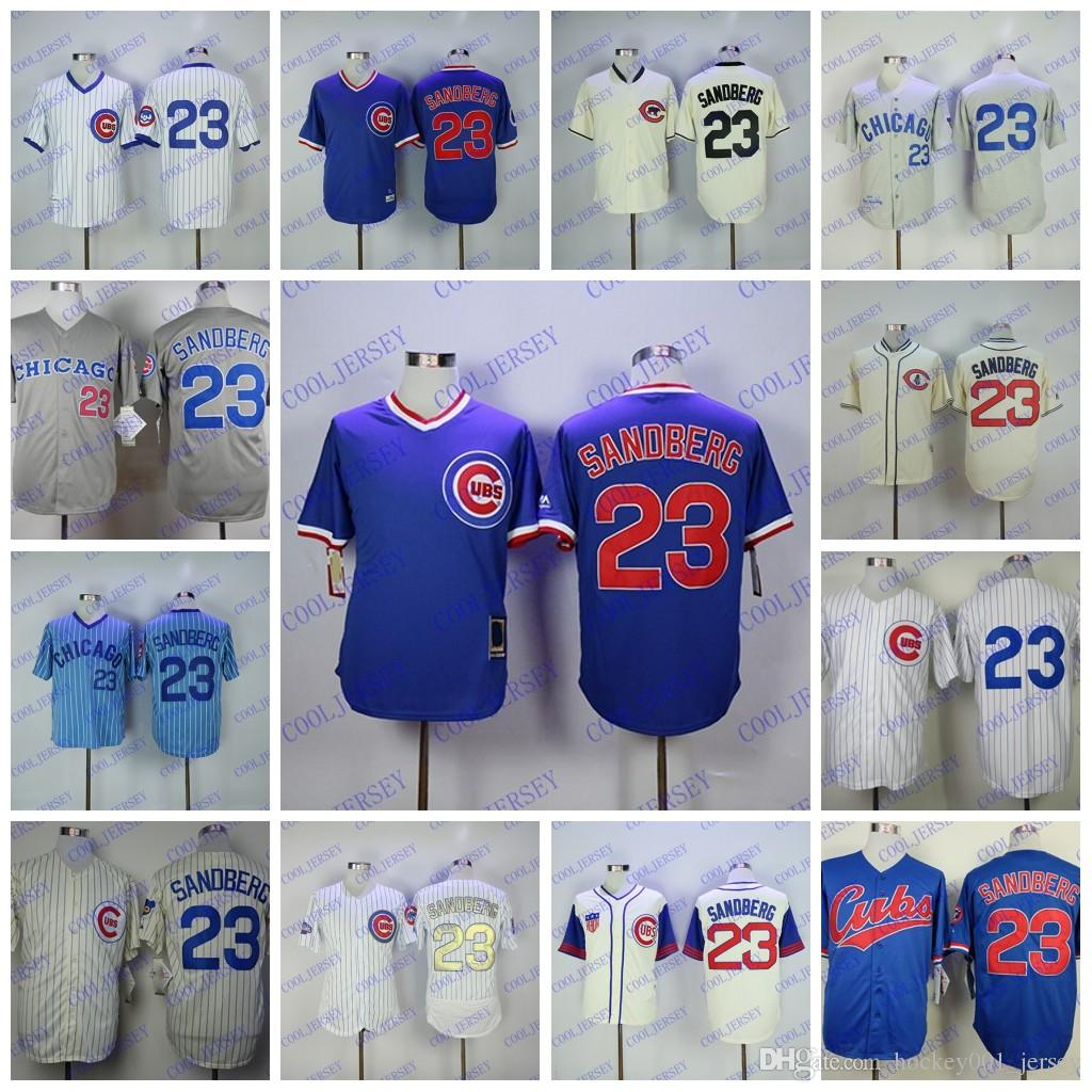 half off cdf96 cc3d0 Ryne Sandberg Jersey Cubs with 2005 Hall Of Fame Patch 1984 Home Away  Button Down White Blue Navy Red Cream Grey All Embroidery