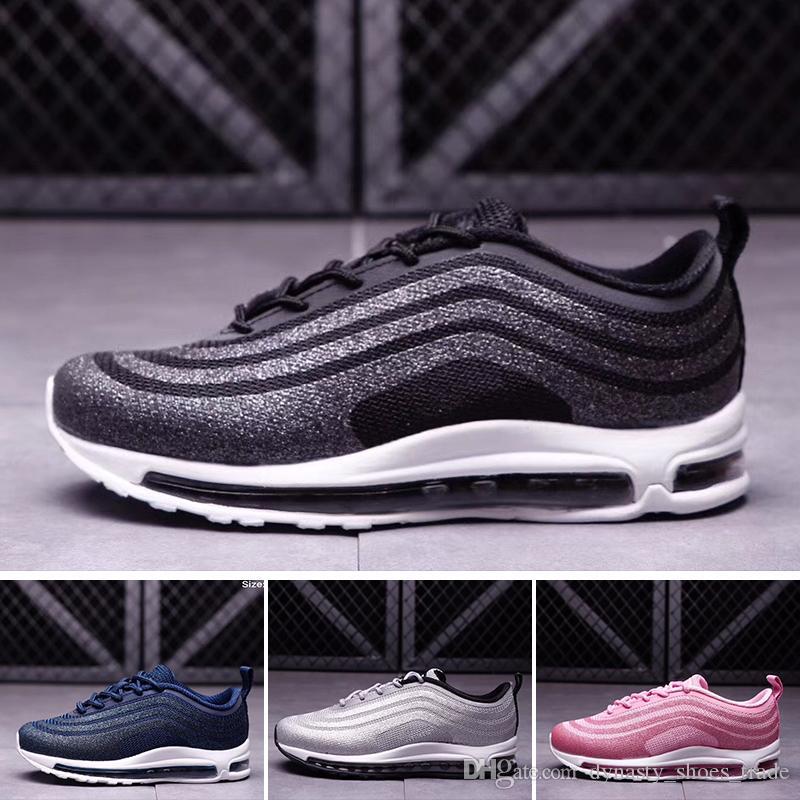 Nike air max 97 Juvenil Niños 97 zapatos Og Triple blanco Zapatillas de running Niños niña Metallic Gold Silver Bullet Pink Zapatillas de deporte para