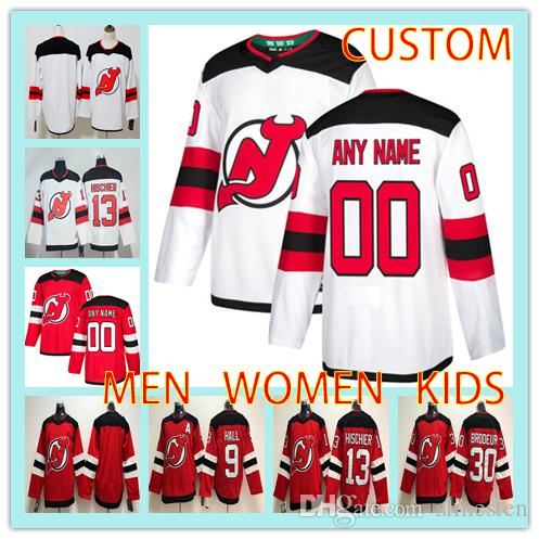 38a050d1dc7 2019 Custom New Jersey Devils 2019 White Green Third Jerseys Any Number  Name Men Women Youth Kid Red Hall Hischier Zajac Kyle Palmieri Stevens From  ...