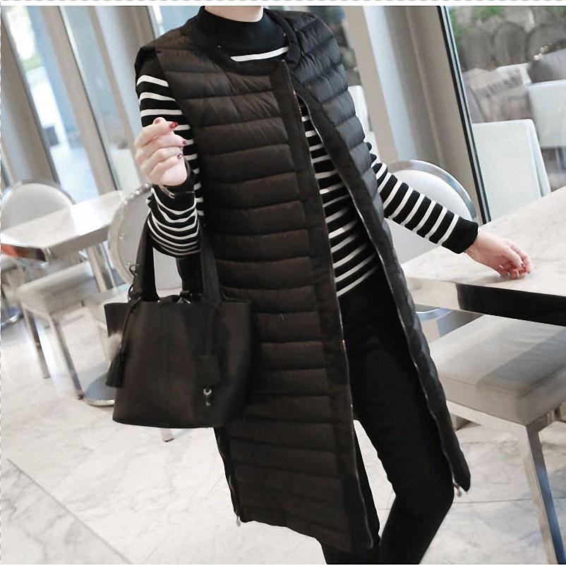 Women's Winter Quilted Packable Vest Casual Solid lightweight Coat Zipper Horizontal Boxy Fit Long Sleeveless Outerwear
