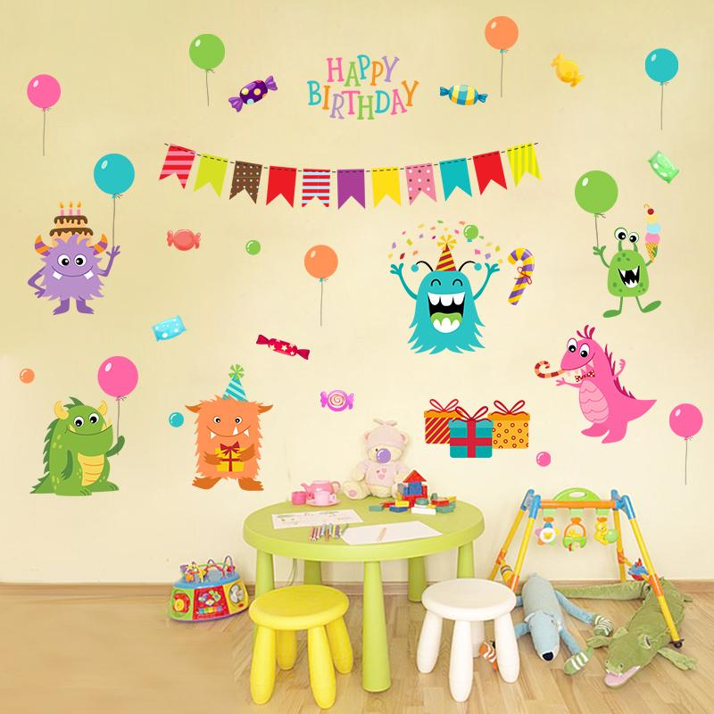 [Fundecor] removable monster candy birthday wall stickers for kids rooms birthday party decor wall decals refrigerator stickers