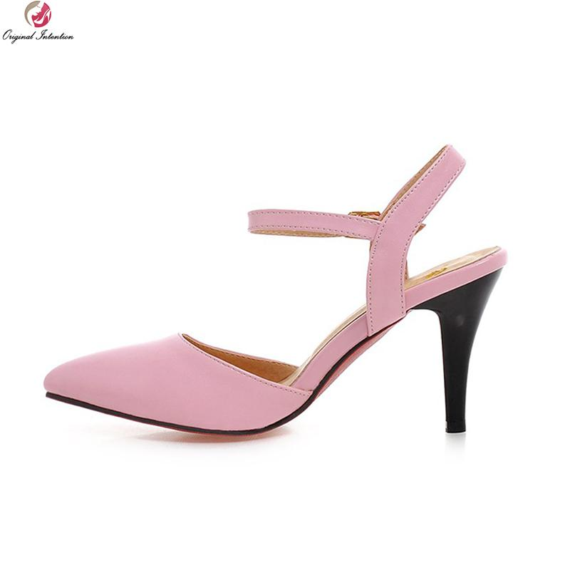 6eec74509 Dress Original Intention High Quality Women Sandals Thin Heels Pumps Black  Beige Pink Patent Leather Shoes Woman Us Size 3.5 10.5 Comfortable Shoes  Slip On ...