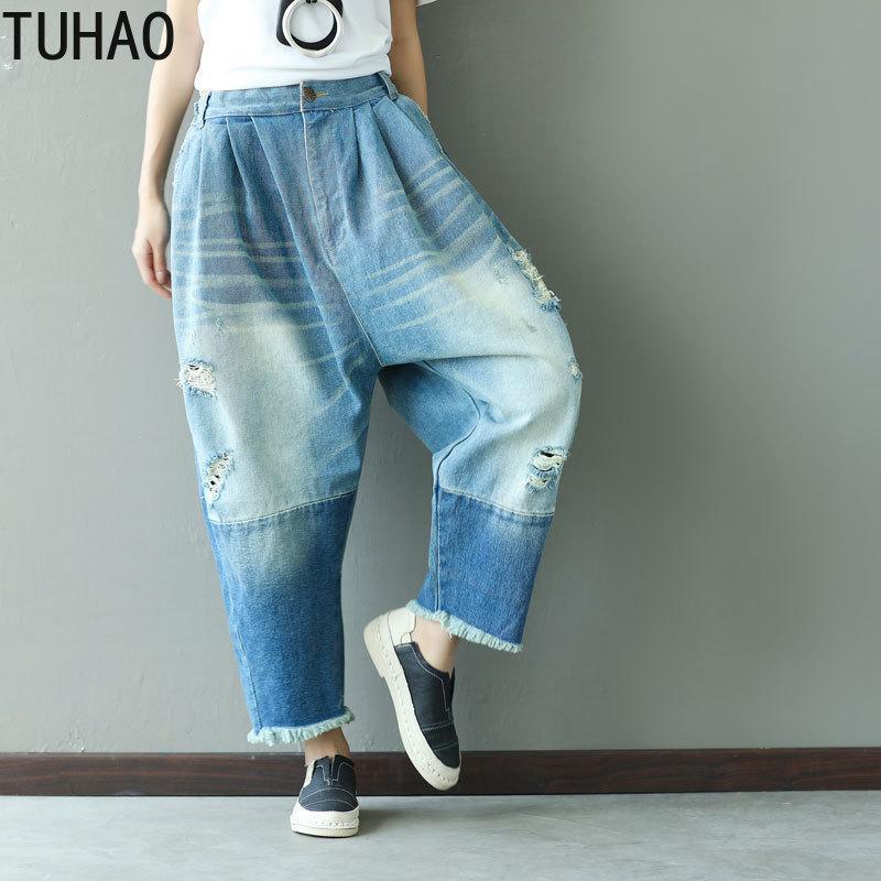 e0d4a9749 Compre TUHAO Jeans De Cintura Alta Do Vintage 2019 Primavera Verão Buraco  Feminino Rasgado Calças Jeans Stretch Mulheres Calças Perna Larga Jeans  Jeans LLJ ...