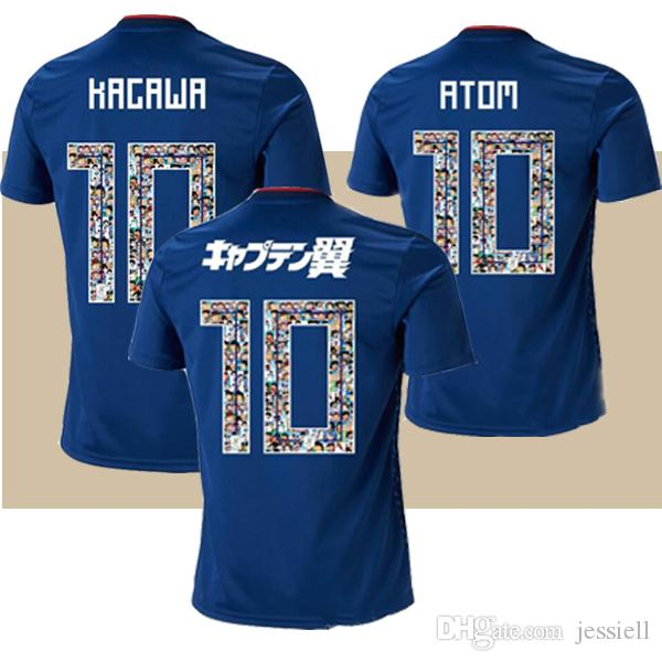 thailand 2018 world cup Japan Soccer Jersey Captain Tsubasa Japan Home blue soccer Shirt Cartoon font #10 ATOM football uniform