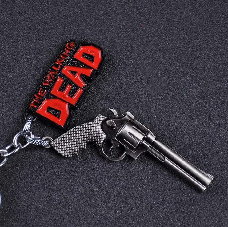 The Walking Dead Keychain - Pistolet Pistolet Revolver Porte-clés Anneau Titulaire Pendentif Porte-clés Hommes Cadeau Bijoux