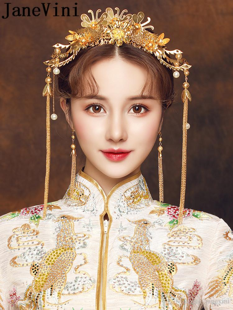 Janevini Chinese Style Bride Headband Gold Hair Accessories Long