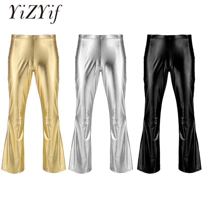 Compre YiZYiF Hombres Pantalones De Disco Metálicos Brillantes Parte  Inferior De Campana Pantalón Largo Acampanado Dude Traje Pantalones Flare  Campana ... 45f377c04a87