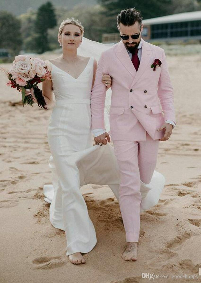 Pink Men Wedding Tuxedos Double-Breasted Groom Tuxedos Excellent Men Blazer 2 Piece Suit Prom/Dinner Jacket(Jacket+Pants+Tie) 2533