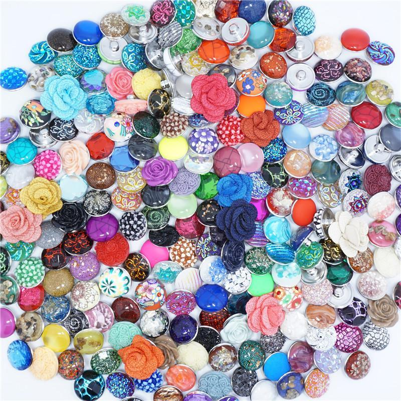 Wholesale-50pcs/lot Mixed 18mm Alloy Resin Fashion Snaps Buttons Fit Ginger Jewelry Bracelets