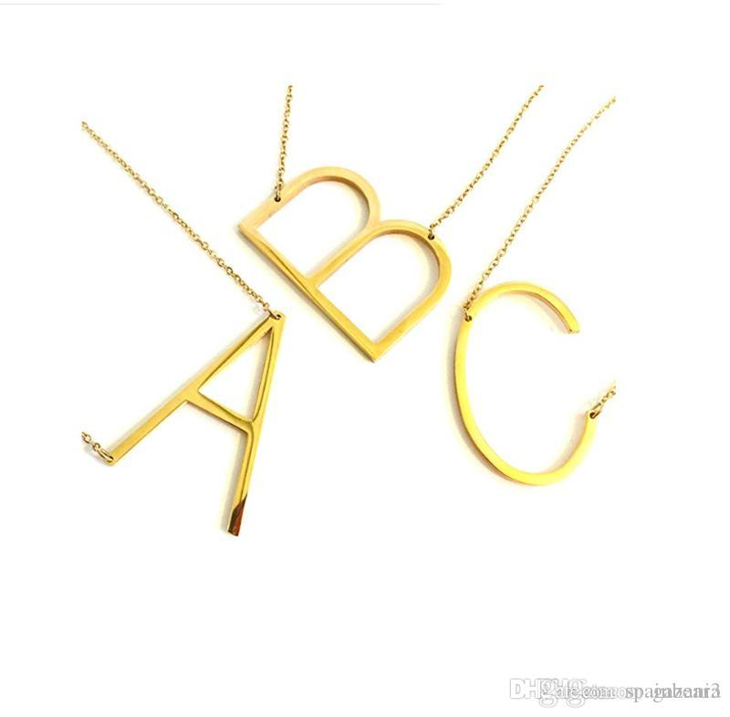 Sideways large Initial Necklace14K Gold Silver Big Letter Script Name  Stainless Steel Pendant Monogram Necklace Cute (From Alphabet 26 A-Z)