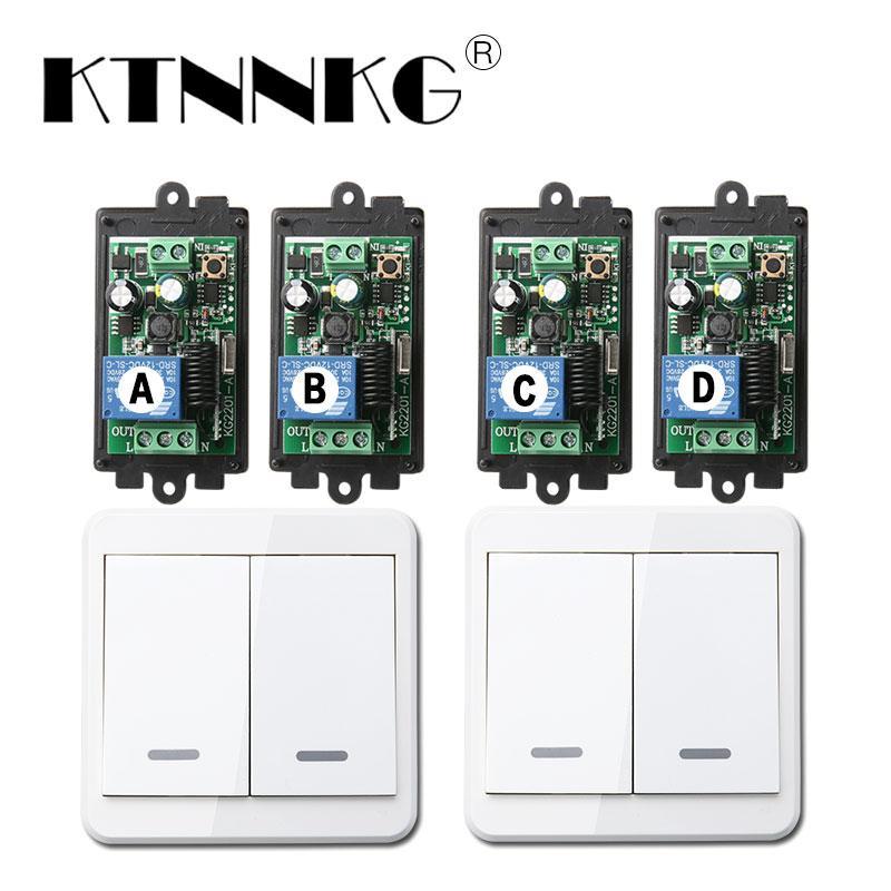 KTNNKG 4PCS Remote Light Switch Wireless Relay Receiver Module AC 85V 110V  220V Universal for RF 433 Mhz 86 Remote Control 1CH