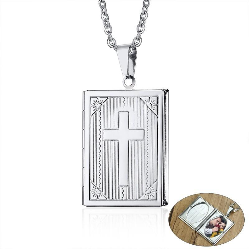 New York 5e429 c3580 Ciondolo fascino per collana con ciondolo portafoto per uomo in acciaio  inox con catena O 20