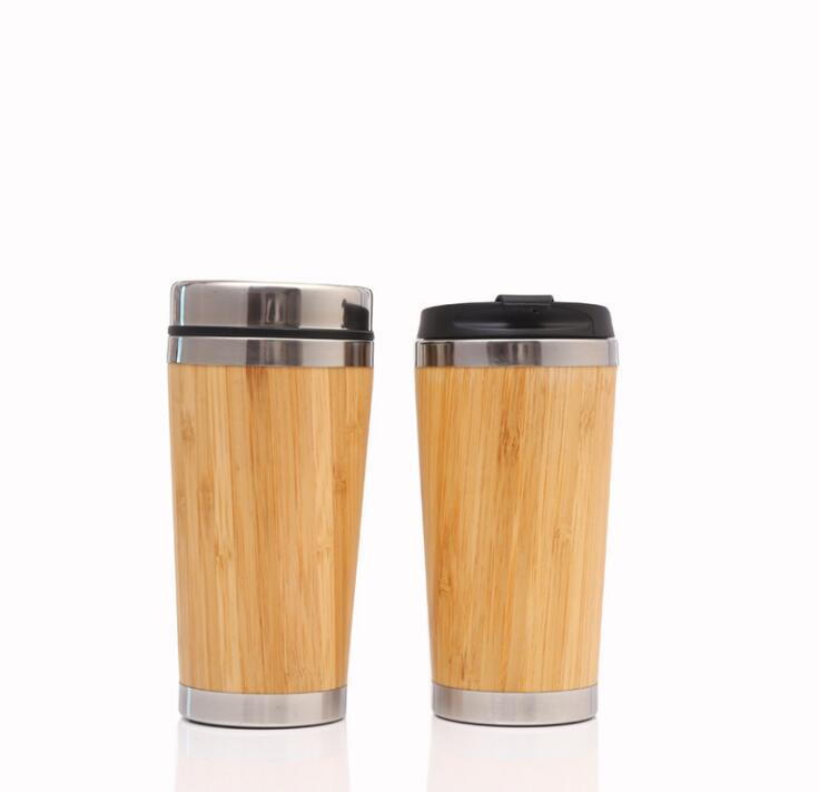 16oz Bamboo Eco Friendly Tumblers 304 Stainless Steel Inner Water Bottle Travel Mugs Cups Reuseable For Coffee Tea DHL Free 9888