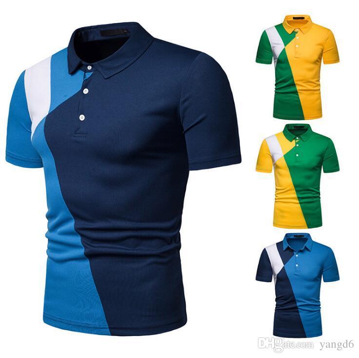 2019 Summer Designer Men s Colorblock PoloT Shirt Men s Clothing Brand  Short Sleeve T-Shirt Casual Loose Short Sleeve Top S-2XL