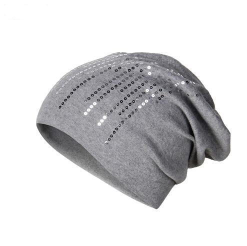 Elegant Knitted Hat Women s Winter Cap Wool Blend Shine Sequin ... 1d661468a53