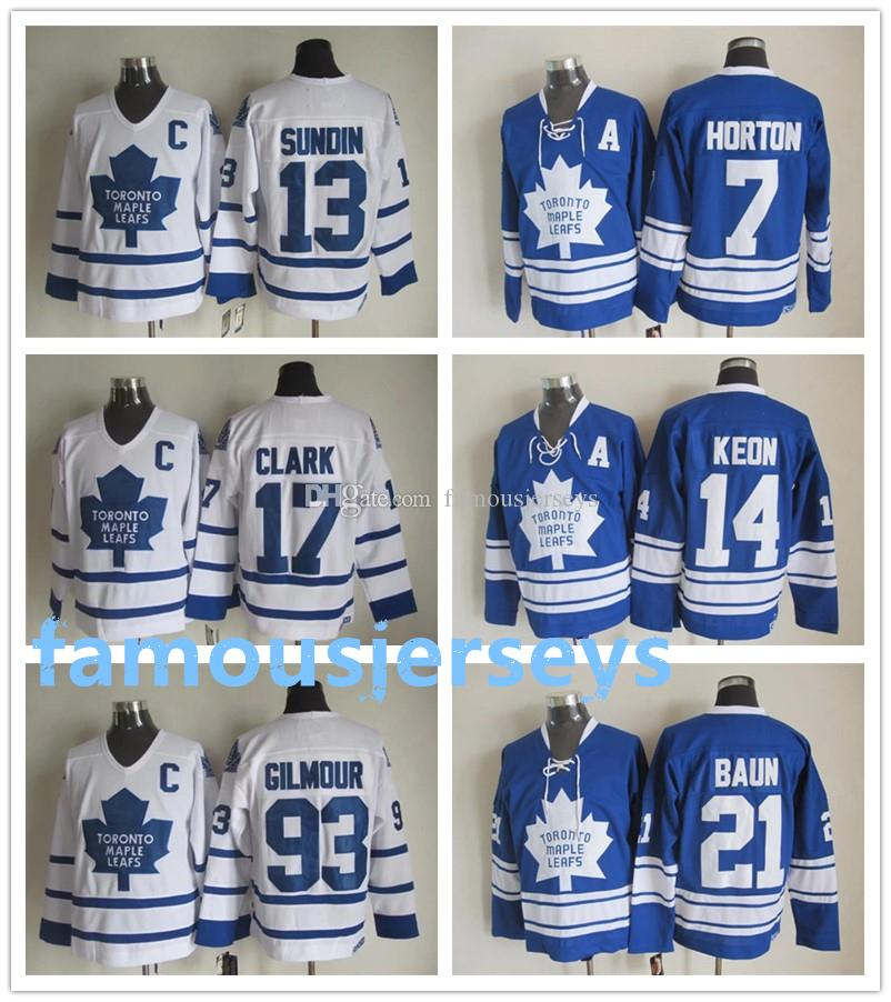 7f7ba4cd6 2019 Toronto Maple Leafs Throwback Hockey Jerseys 7 Tim Horton 13 Mats  Sundin 14 Dave Keon 17 Wendel Clark 21 Bobby Baun 93 Doug Gilmour From  Famousjerseys, ...