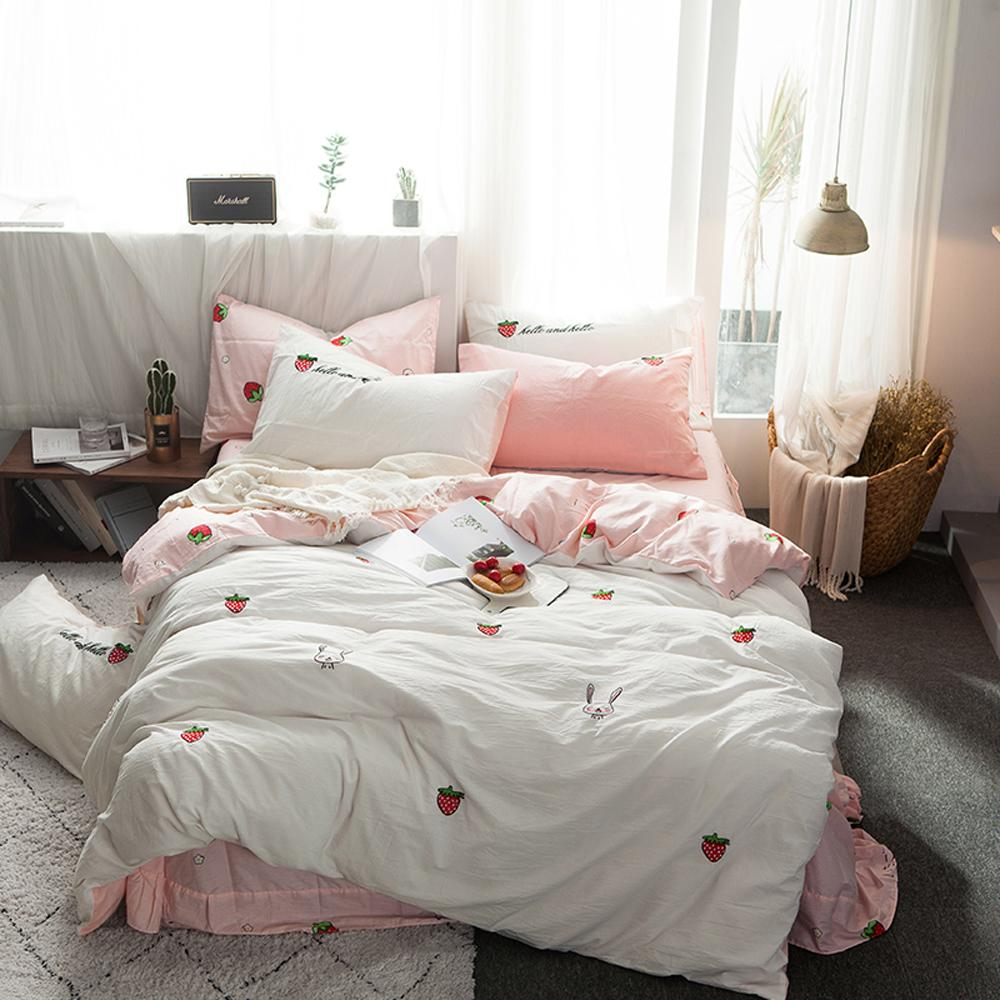 2018 Rabbit Strawberry Fruits Duvet Cover Set Washed Cotton Twin Queen King  Bedlinens Flat Fitted Sheet Pillowcases Bed Cover Comforter Covers  California ...