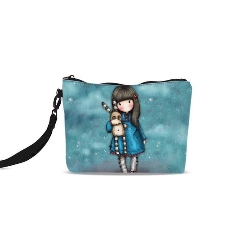 Cosmetic Bags Women Fashion Cute Cartoon Girls 3D Printing Canvas ... 7963e30a075d6