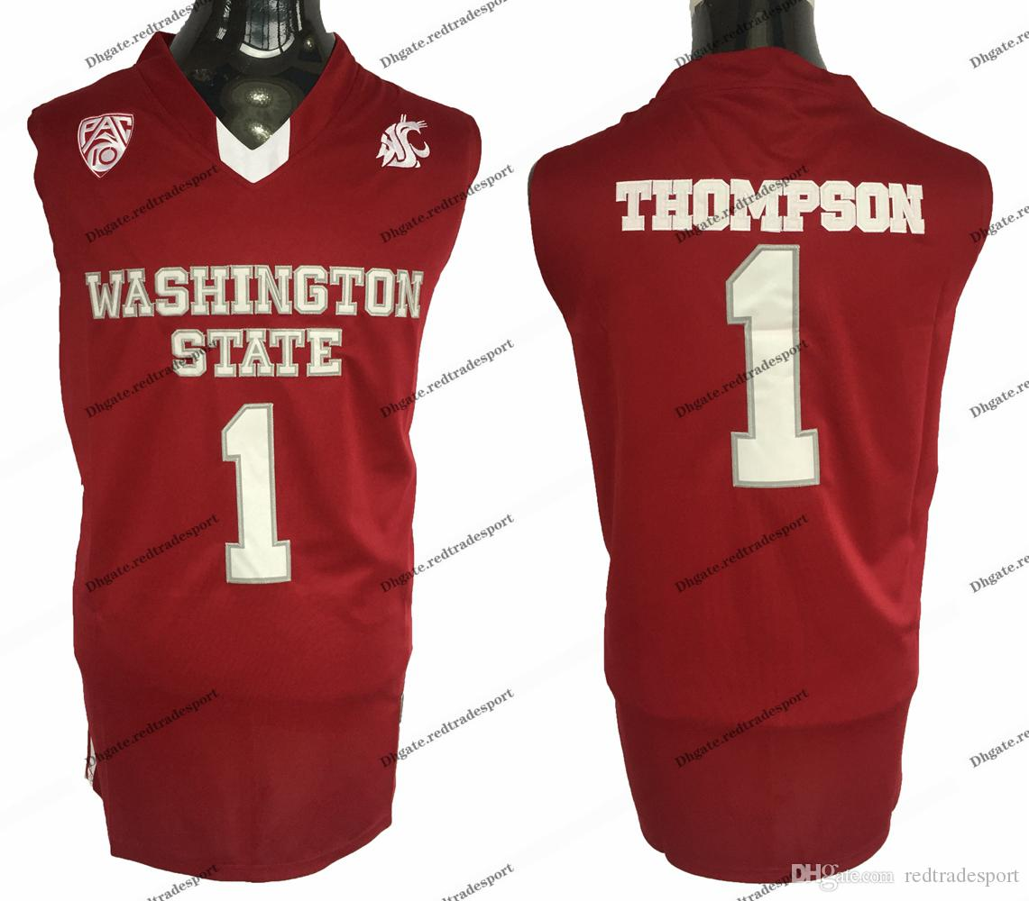Vintage Washington State Klay Cougars Thompson College Basketball Jerseys Mens Home Red #1 Thompson Stitched University Shirts S-XXL