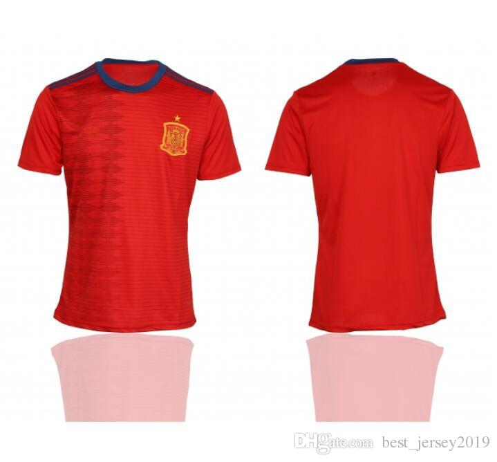 ef222978ef4 2019 19 Spain Home Soccer Jerseys 20 New Stitch Spain Football Shirts Red  Embroidery LOGO Football Uniform From Best_jersey2019, $14.47 | DHgate.Com
