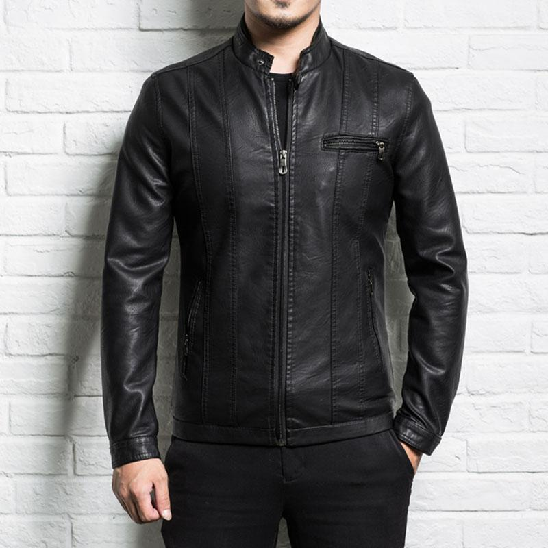 46fe72d2d Men Genuine Leather Jacket Sheepskin 2018 New Spring And Autumn Handsome  Slim Zipper Male Motorcycle Leather Jacket Teenager Boy T Shirt Long-sleeve  ...