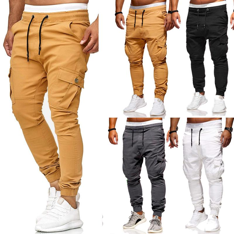 THEFOUND New Men's Pocket Trousers Solid Slim Fit Urban Casual Pencil Jogger Long Cargo Pants